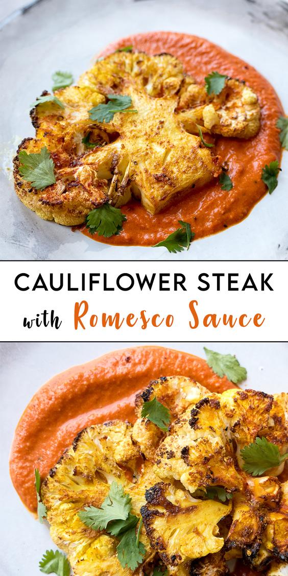 Cauliflower Steak with Romesco Sauce