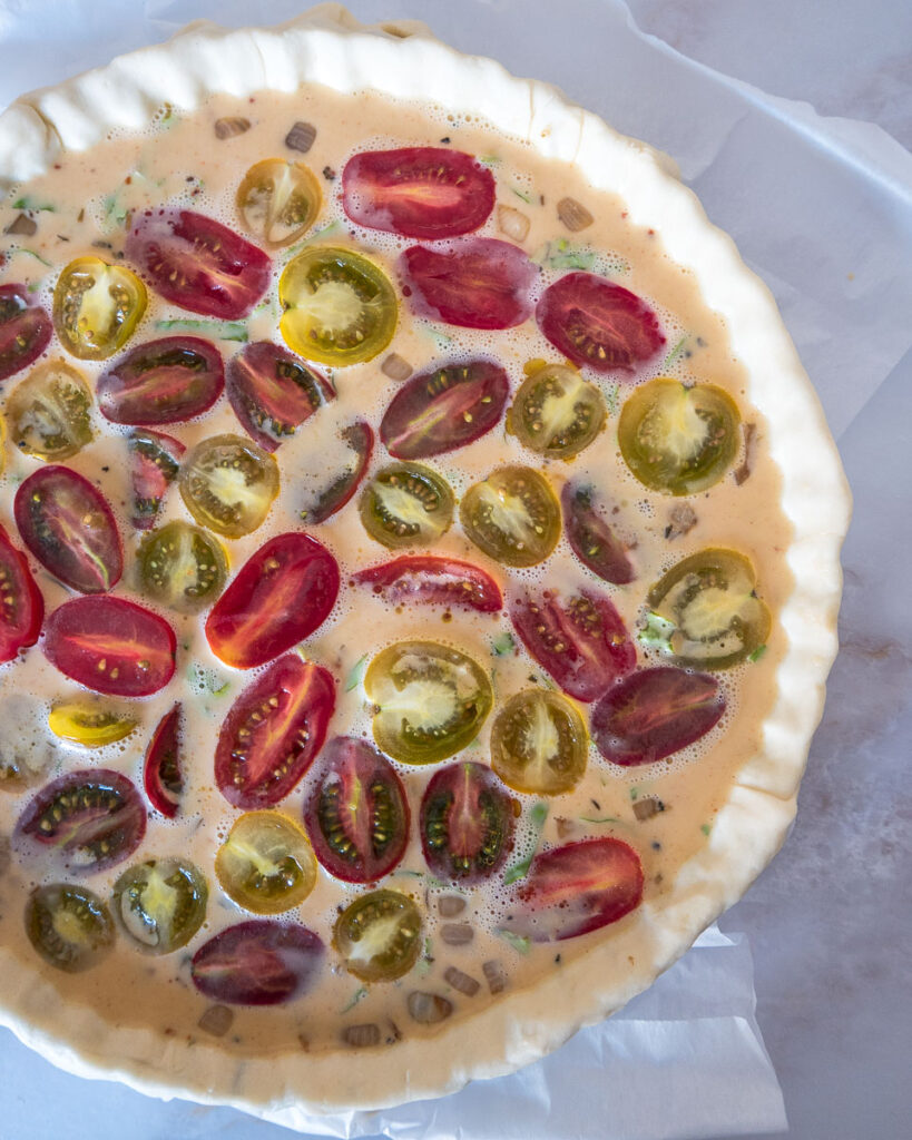 Cherry Tomato and Basil Quiche
