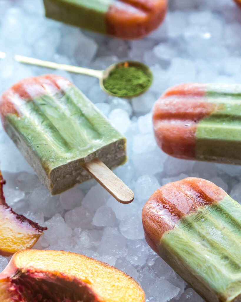 Creamy Matcha and Peach Popsicles