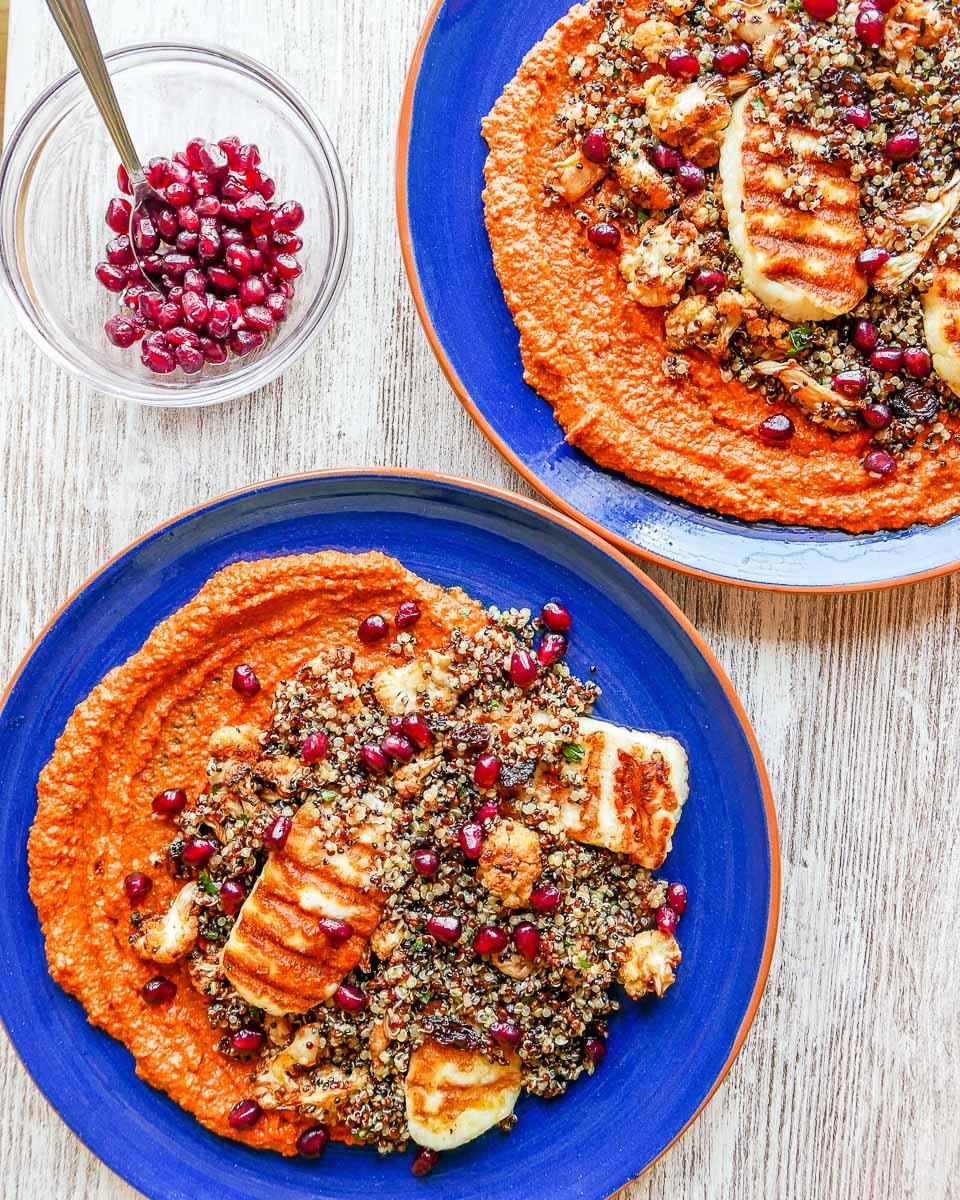 Muhammara roasted cauliflower quinoa and halloumi