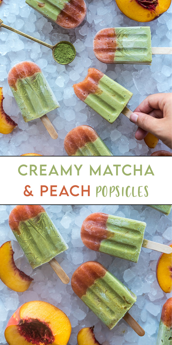 Match and peach popsicles
