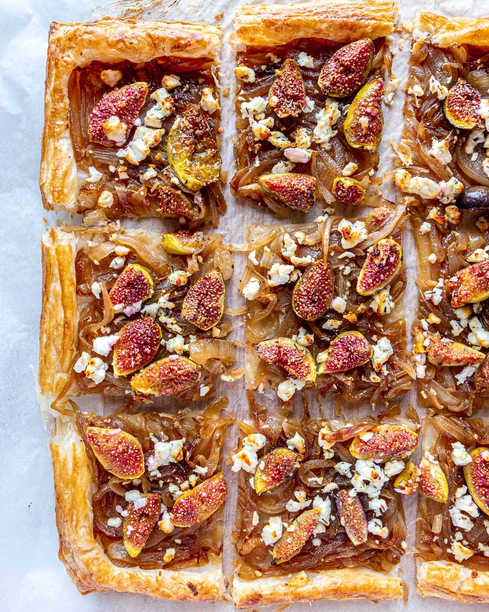caramelised onion tart with figs and feta