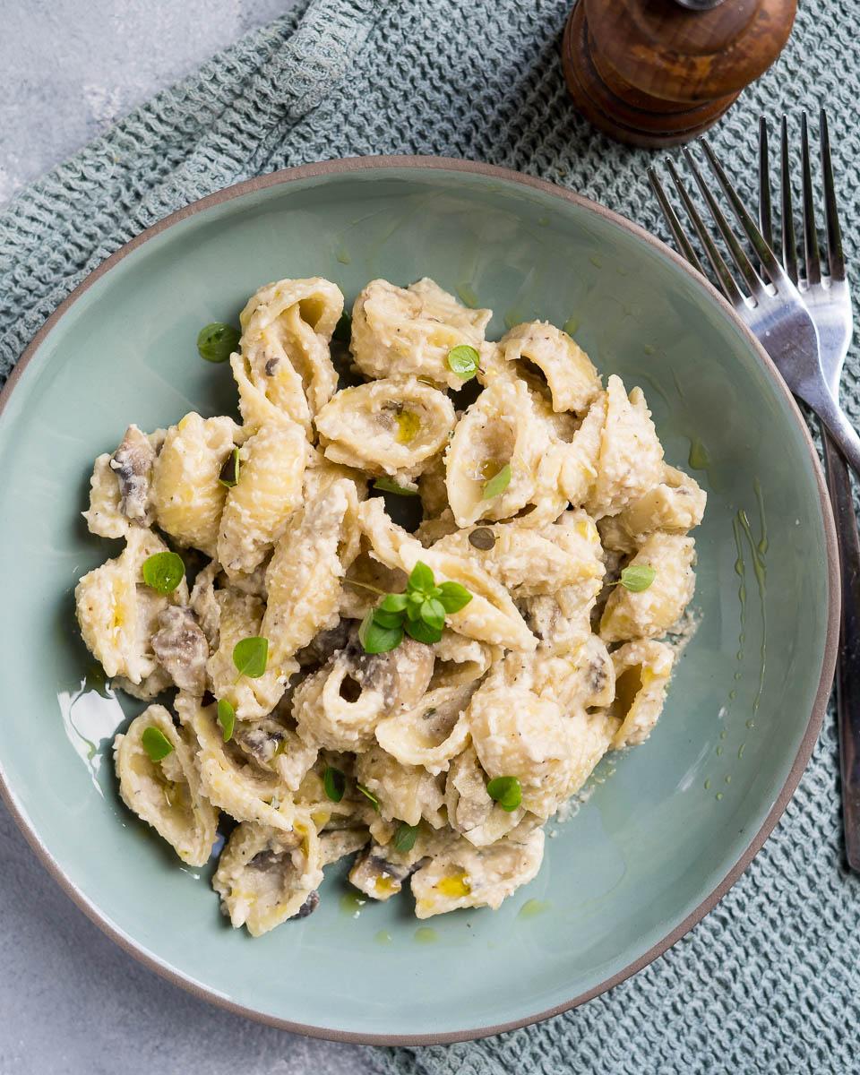 Vegan Creamy Mushroom Pasta Six Hungry Feet