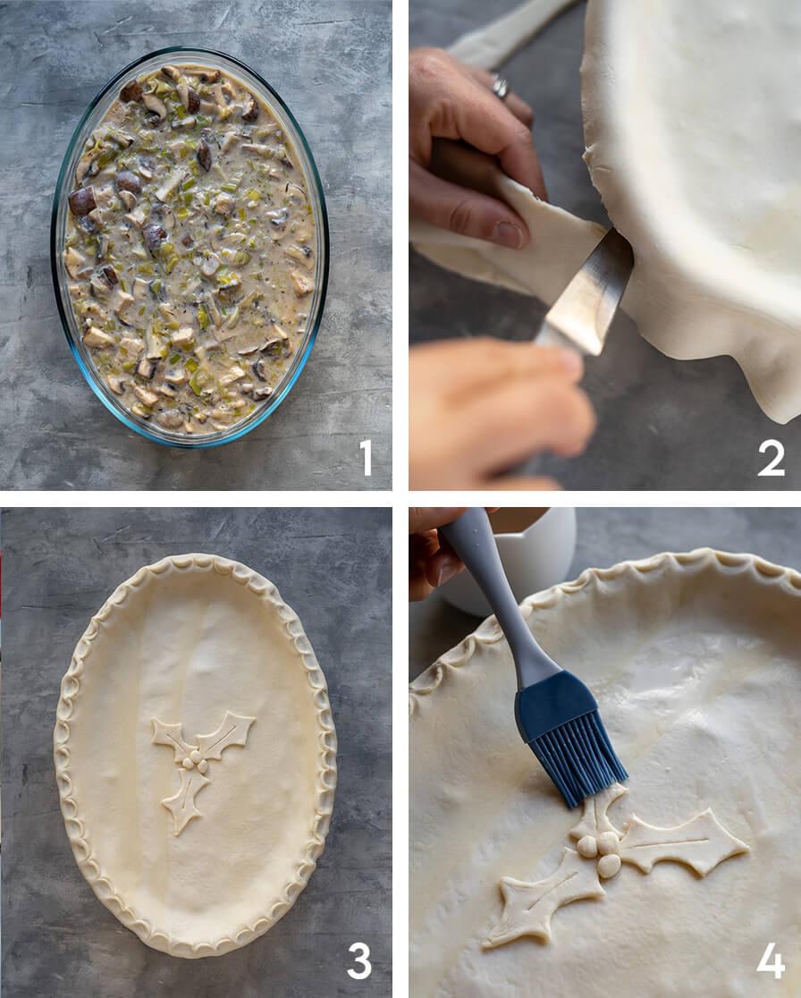 Vegan leek and mushroom pie