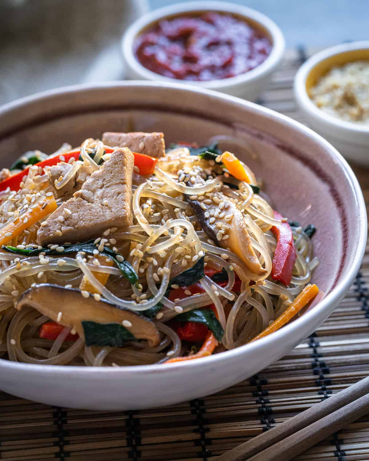 Vegan Japchae (Korean Glass Noodles)