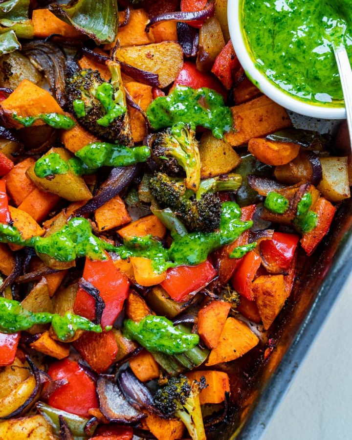 Roasted Vegetables with Cilantro Dressing